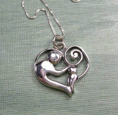 Sterling Silver Mother and child heart Pendant and Chain