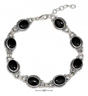 Sterling Silver 7 inch Southwest style Bracelet with Black Onyx Stones