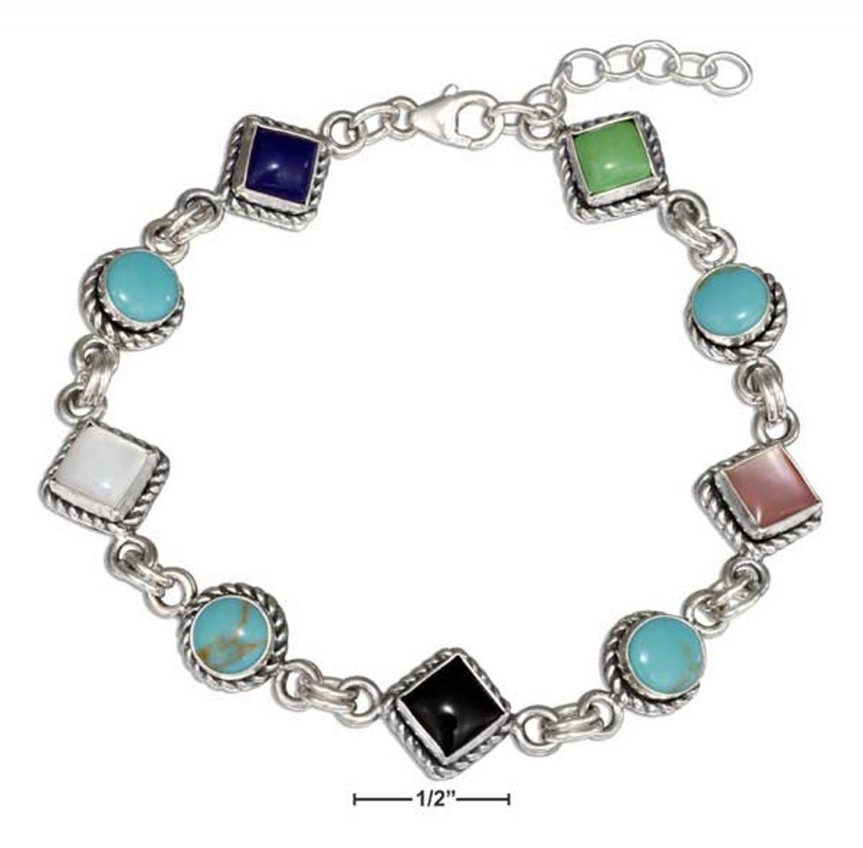Sterling Silver 7 inch Southwest design Bracelet with Multi stones