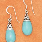 Sterling Silver Turquoise Tear Drop Dangle Earrings