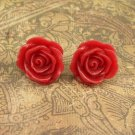 Pretty red Rose earrings on gold posts