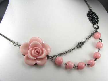 Vintage style Pink Flower adjustable Necklace with pink jade beads