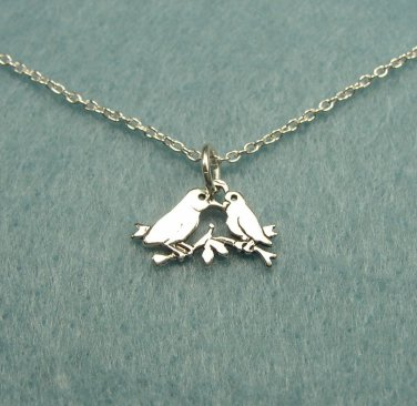 Sweet Sterling Silver Kissing Love Birds Necklace