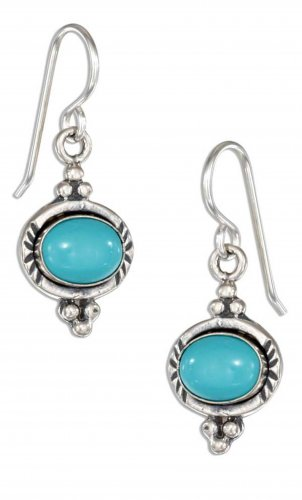 Pretty sterling silver earrings with oval genuine turquoise stones