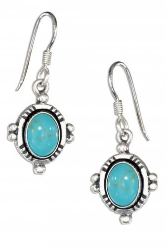 Lovely sterling silver earrings with oval genuine turquoise stones
