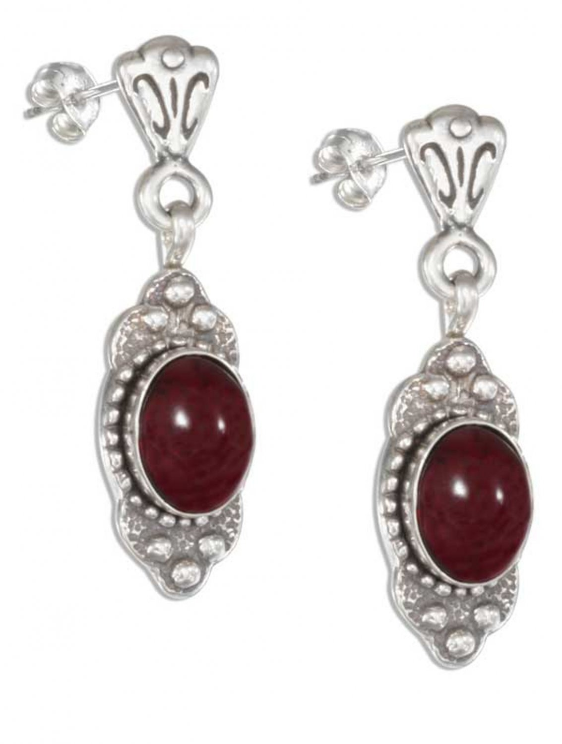 Fancy Sterling Silver Garnet Dangle Earrings