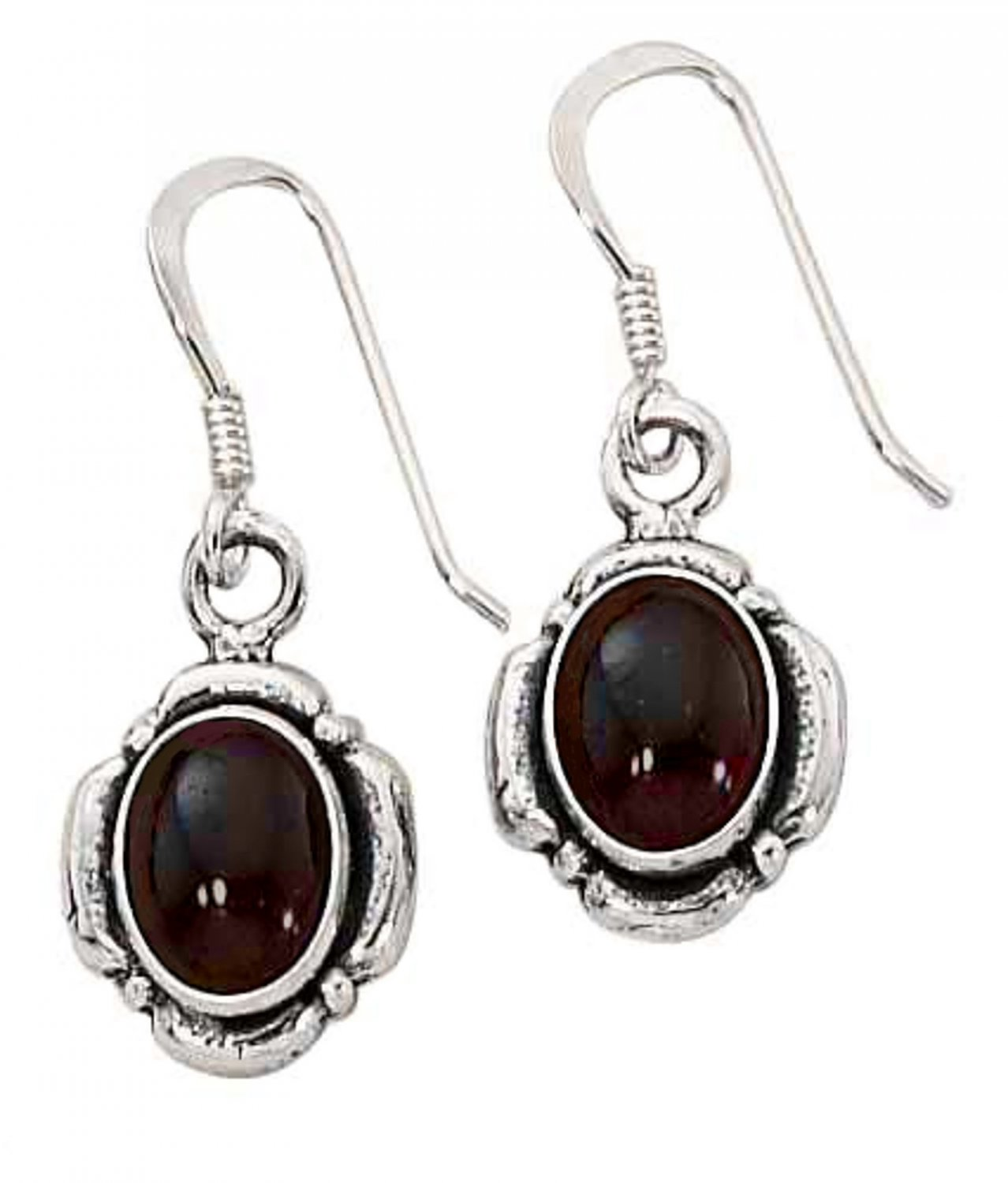 Sterling Silver Garnet gemstone Dangle Earrings