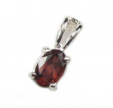 Classic Sterling Silver and Garnet Oval Pendant