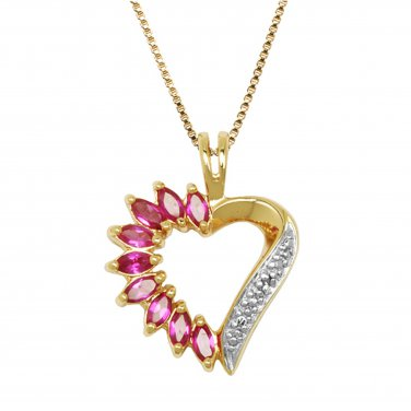"18 kt Gold Vermeil Heart Pendant with created Ruby stones and 18"" Chain"