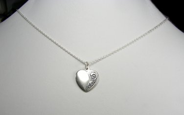 Attractive Sterling Silver Heart Charm with a vintage look and Chain necklace