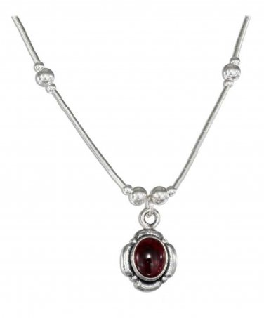 Sterling Silver beaded necklace with a genuine Garnet Pendant