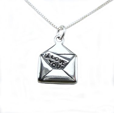 Love Letter Sterling Silver Charm and chain necklace