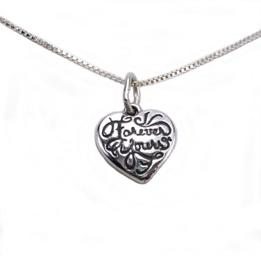 "Sterling Silver ""Forever Yours"" Small Heart Charm"