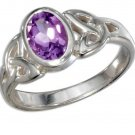 Sterling silver ring with an Oval Amethyst Stone and Celtic Trinity knot design in size 8