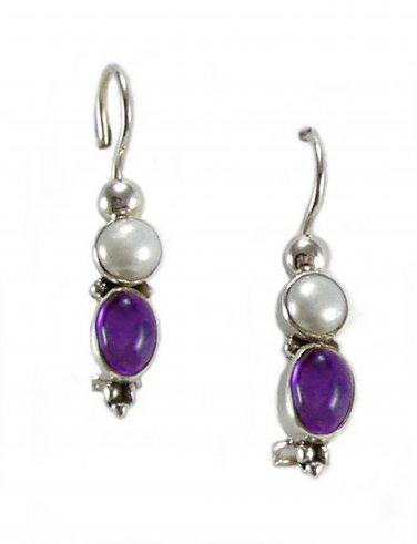 Sterling Silver Bali style Genuine Amethyst and Pearl Earrings