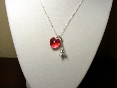 Sterling Silver Eiffel tower and Swarovski heart Love Paris chain necklace
