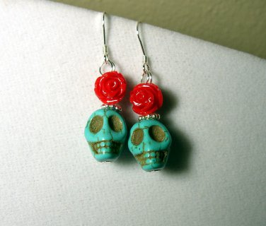 Fun sterling silver earrings with Turquoise skulls and red rose
