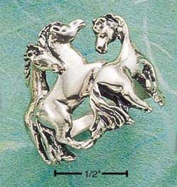 Sterling Silver Triple Horse Ring Size 7