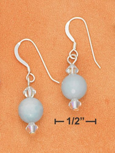 Pretty Sterling Silver Blue Amazonite Earrings with Swarovski crystals
