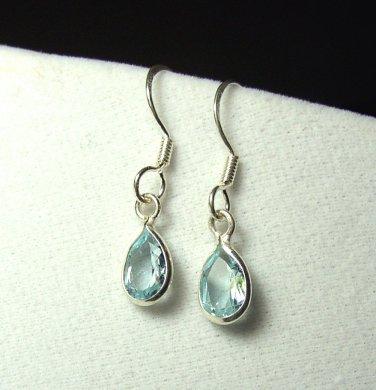 Sterling Silver Blue Topaz Tear drop dangle Earrings