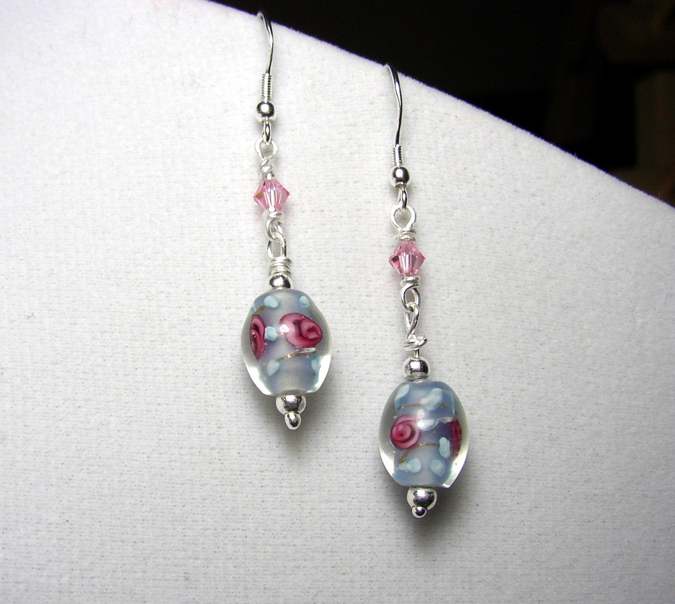 Sterling Silver Blue Lampwork bead dangle Earrings with Swarovski crystals
