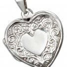 Sterling silver heart shaped Locket with decorative scrolls