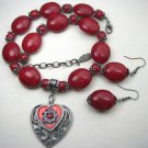 Dark Red beaded necklace and matching earrings with two heart pendants