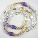 Sterling silver necklace with amethyst, citrine and blue topaz gemstones