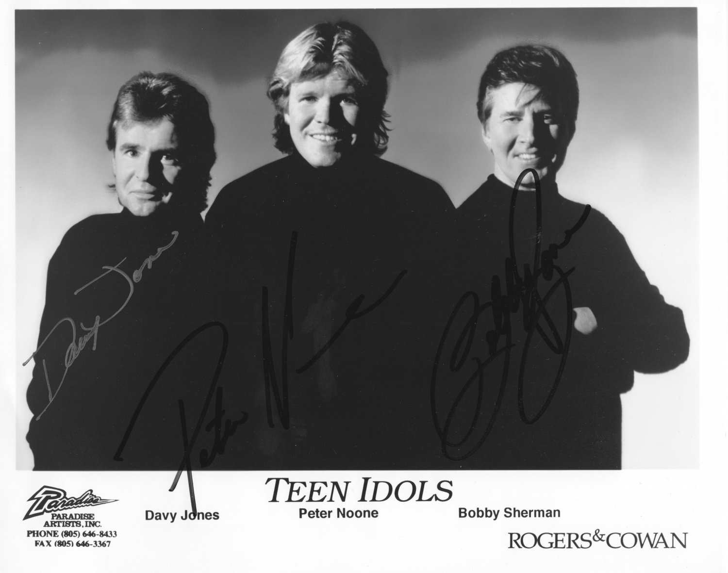 TEEN IDOLS OF 1960'S - DAVY JONES - PETER NOONE - BOBBY HERMAN - AUTOGRAPHED PHOTO WITH COA