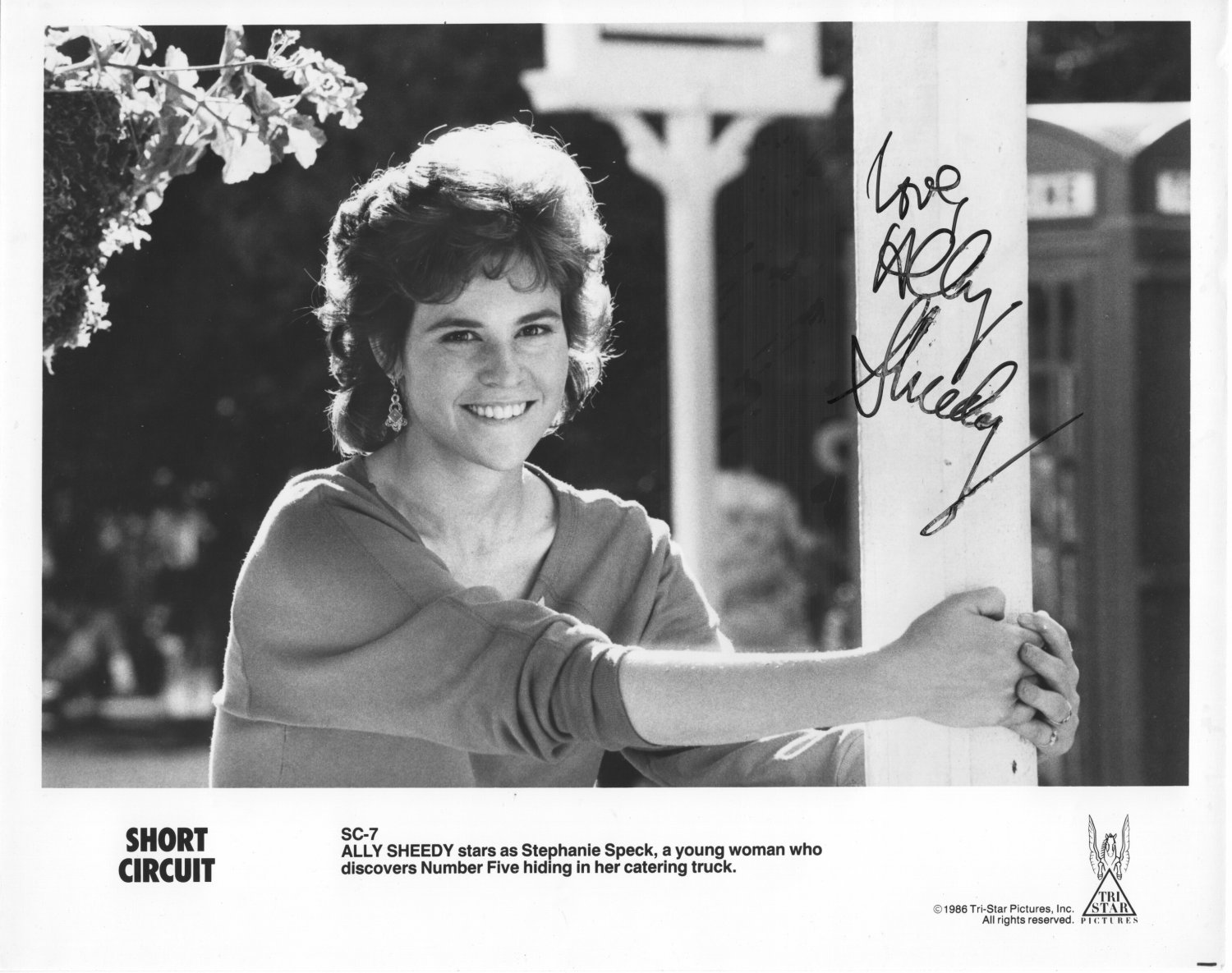 ALLY SHEEDY - OUTSTANDING ACTRESS - SHORT CIRCUIT - HAND SIGNED AUTOGRAPHED PHOTO WITH COA