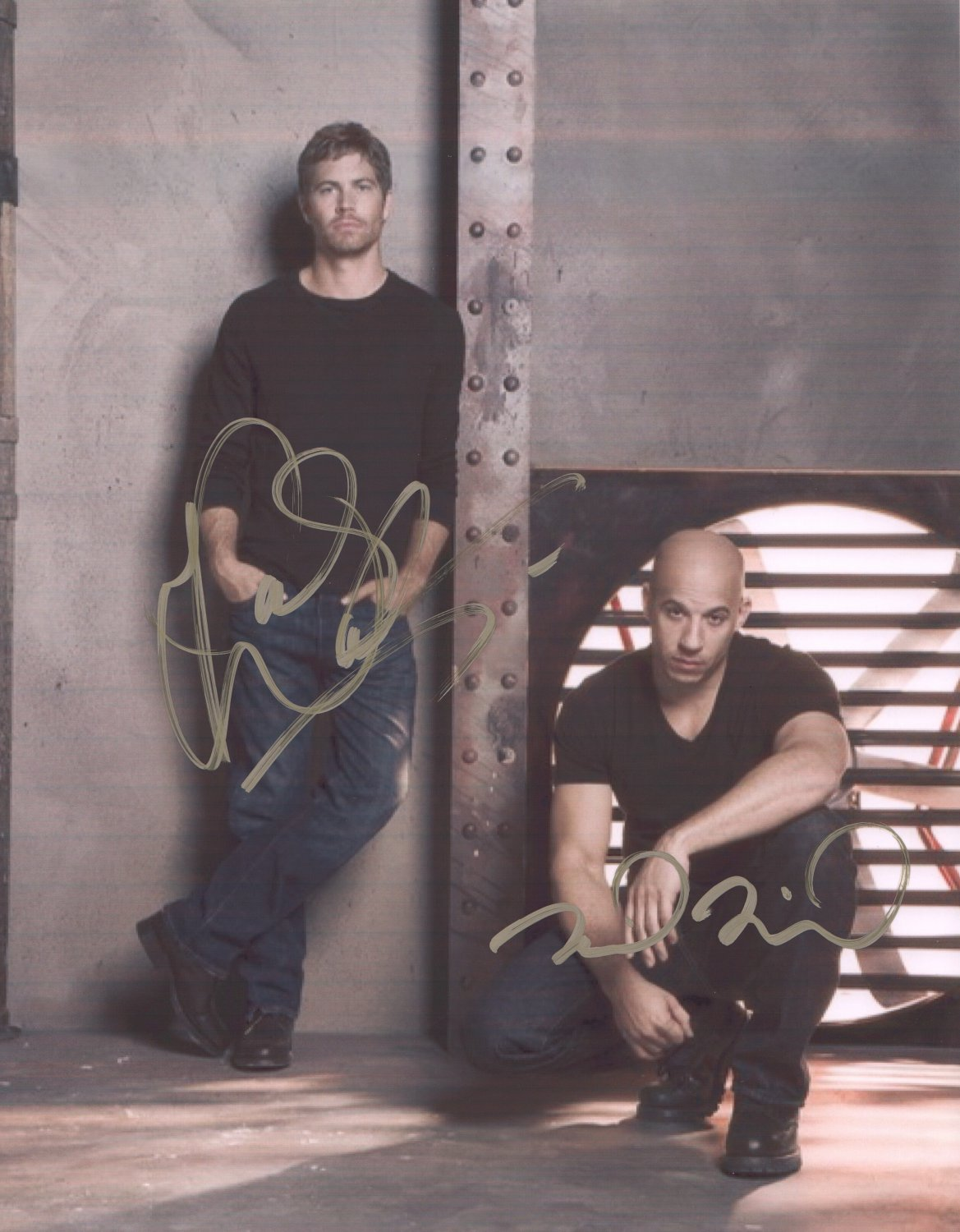 FAST N FURIOUS MOVIE STARS - WALKER & DIESEL - DOUBLE HAND SIGNED AUTOGRAPHED PHOTO WITH COA