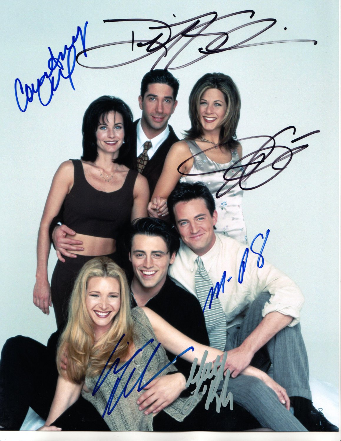 FRIENDS TV CAST - ALL -=6=- ORIGINAL SHOW MEMBERS - AMAZING HAND SIGNED AUTOGRAPHED PHOTO WITH COA