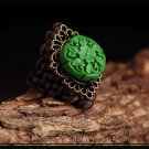 Chinese style weaved green rings women fashion design jewelry rings