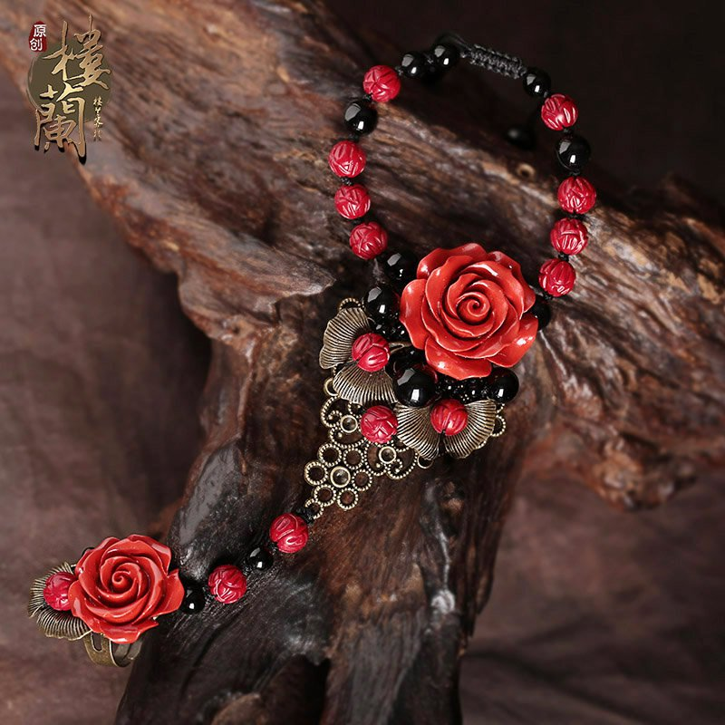 Chinese style red coral floral carving bracelet &rings  traditional design bracelet rings set