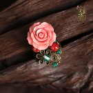 Chinese style pink rose rings traditional design red green floral jewelry rings