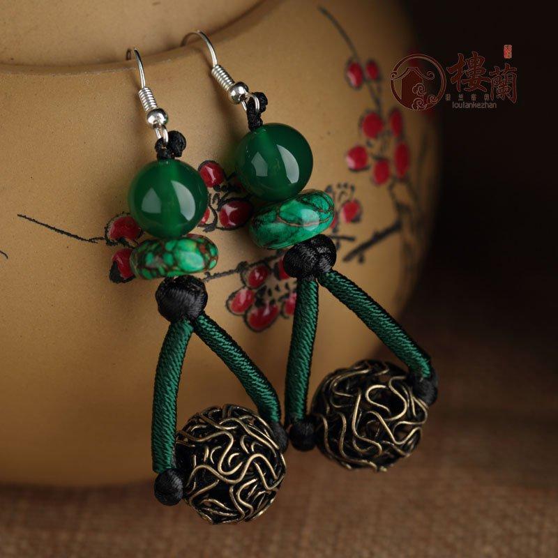 Chinese green agate silver earrings traditional design handmade earrings women jewelry rings