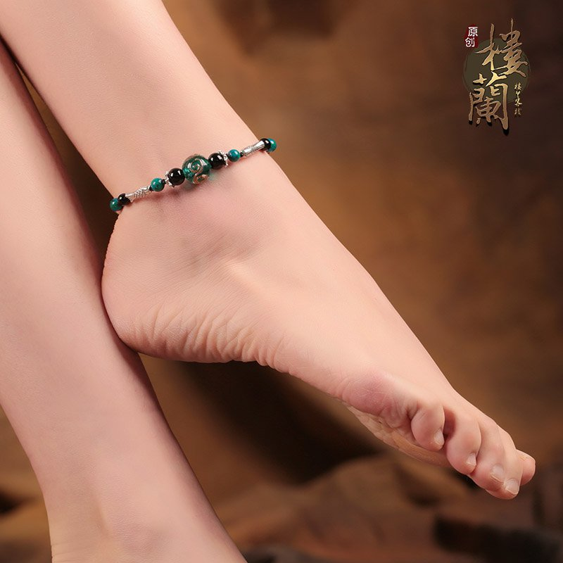 Chinese style green glass barefoot bracelet traditional fish design ankle bracelet