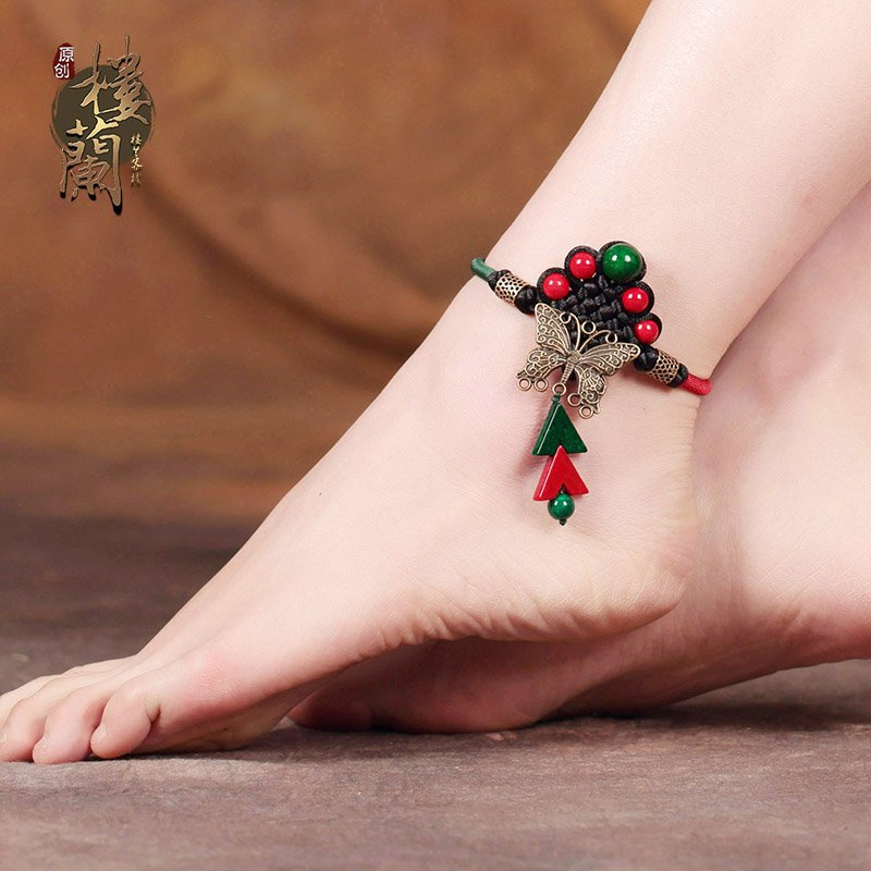 Chinese style color stone barefoot bracelet traditional cooper alloy butterfly design ankle bracelet