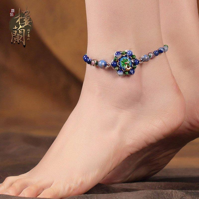 Chinese style blue agate barefoot bracelet traditional vintage design ankle bracelet