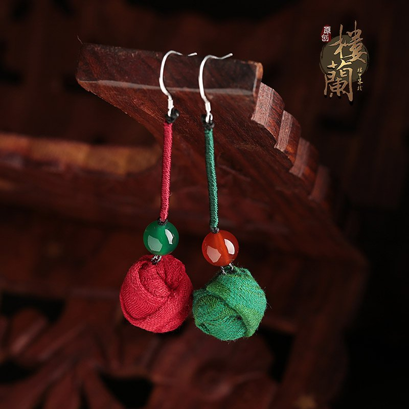 Chinese style green red agate earrings traditional design ear drop silver ear hook