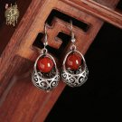 Chinese style red agate earrings  traditional design ear drop silver hook