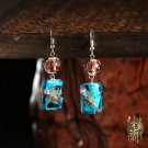 Blue colored glaze earrings,Chinese traditional design ear drop silver hook
