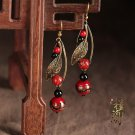 Chinese red stone black agate earrings traditional design ear drop jewelry earrings