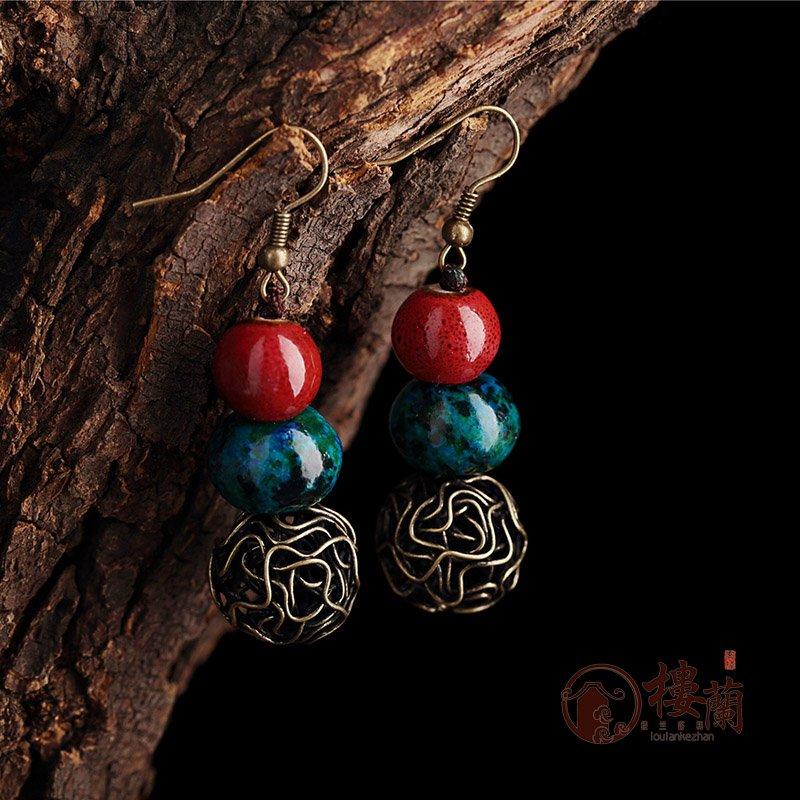 Chinese red blue phoenix  stone earrings Ceramics ear drop women jewelry earrings
