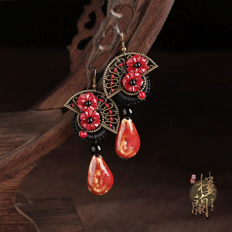 Chinese style red  ceramics  floral earrings women jewelry ear drop