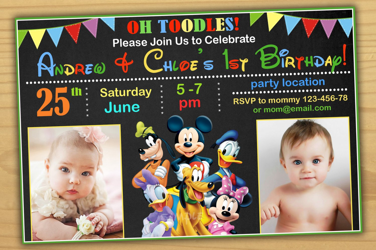 Mickey Mouse Birthday Invitationmickey Twins Invitationsiblings Invitation