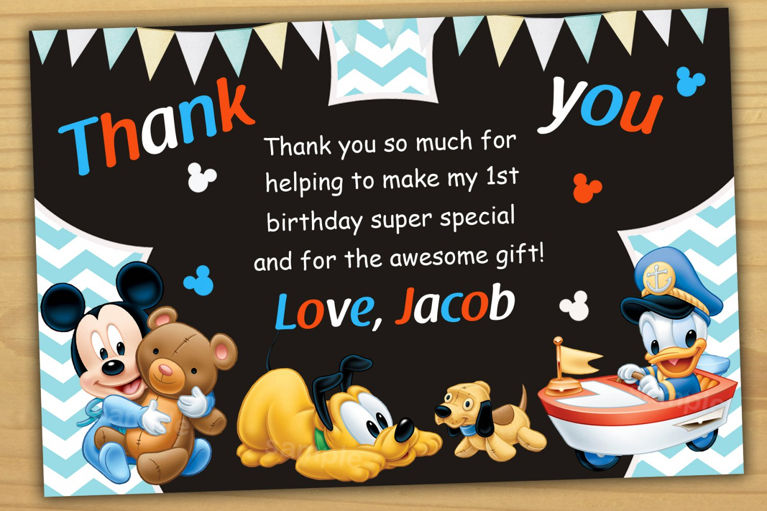Well-liked Baby Mickey mouse thank you card,Baby Mickey mouse chalkboard  US47