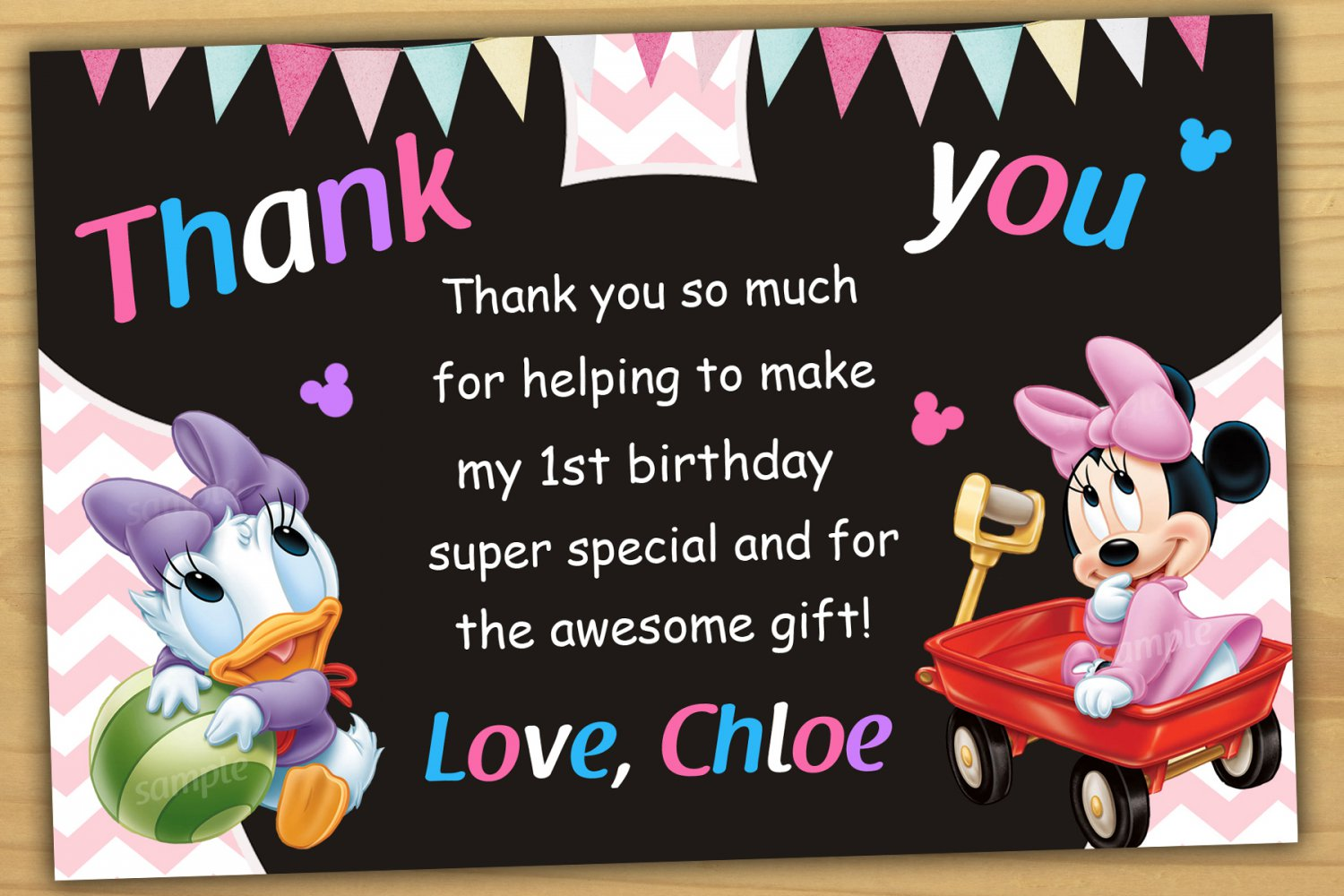 baby minnie mouse thank you card baby minnie mouse chalkboard minnie