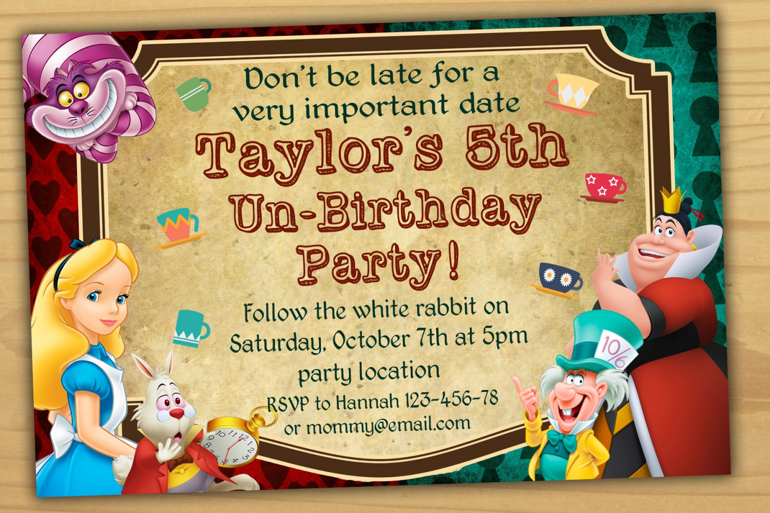 Alice in wonderland Invitation,mad hatter birthday Invitation,mad ...