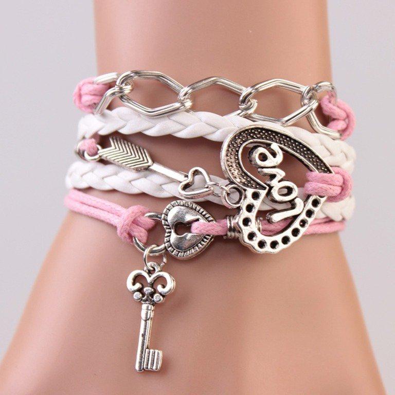 $10 Infinity White Pink Leather Bracelet